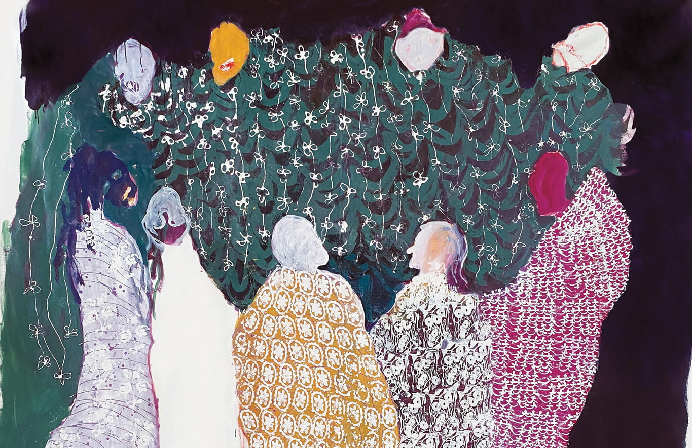 Painting of colorfully robes figures gathered in a circle