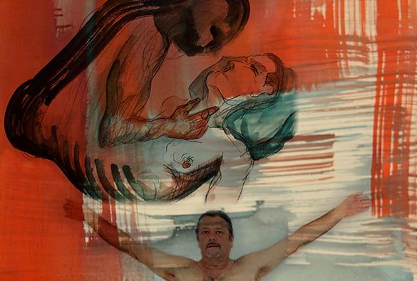 Painting show men embracing