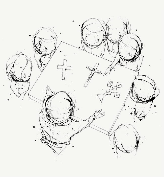 Illustration of students and teacher gathered around a table examining different types of crosses