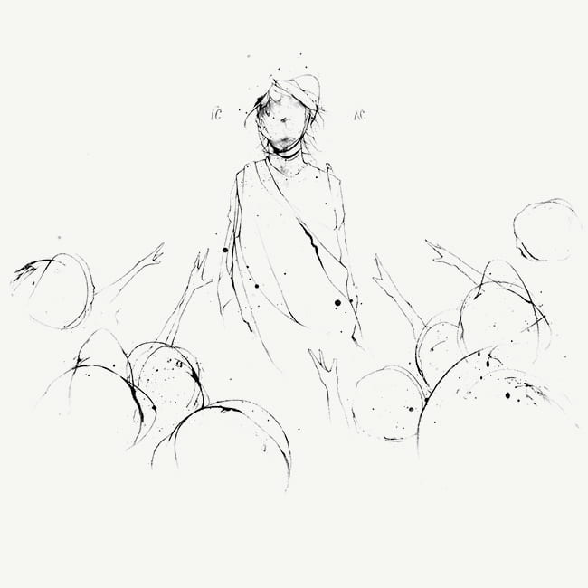 Illustration of Jesus with a crowd facing him, their hands outstretched