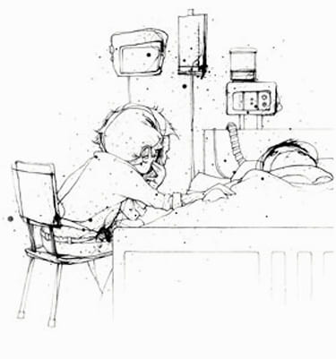 Illustration of man sitting at the side of a person in a hospital bed
