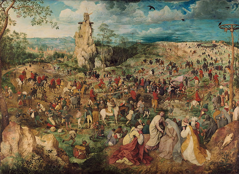 Painting of Christ carrying the cross, set in a large landscape