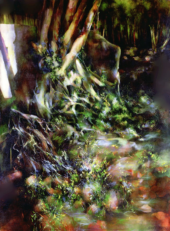 Abstract painting of tree roots