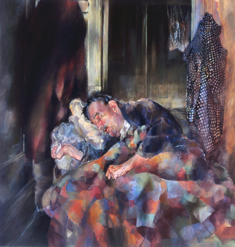 Painting of a sleeping man under a patchwork blanket