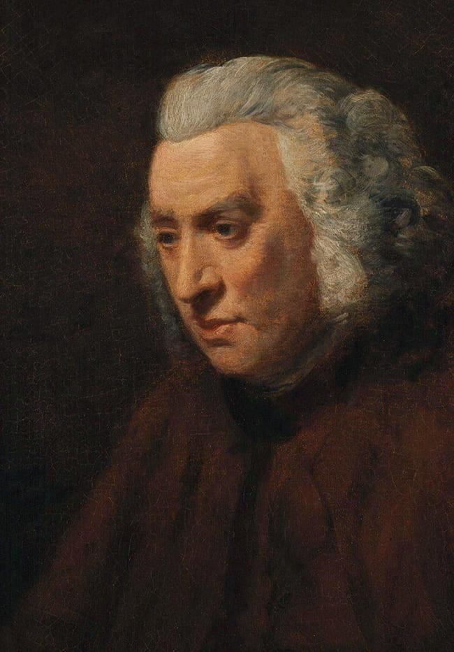 Painting of Samuel Johnson looking down
