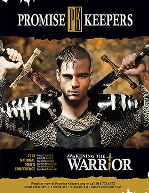 Promis Keepers conference poster with young man in armor holding two swords