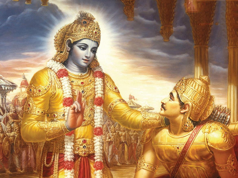 Drawing of Krishna standing with a kneeling Arjuna