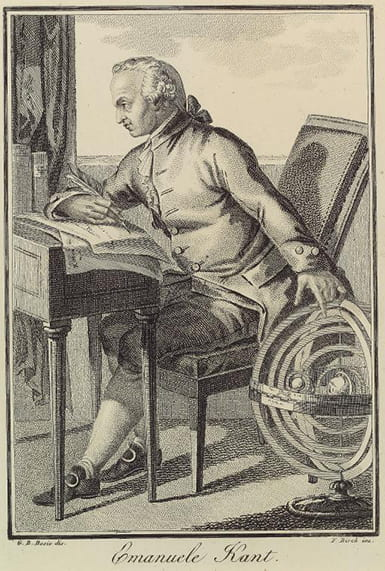 Engraving of an 18th century man at a writing desk, with his hand reaching down to an astrolobe