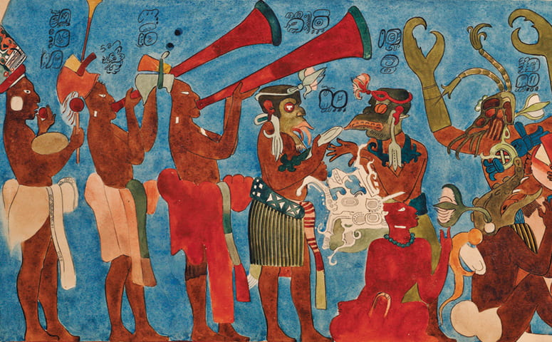 Photo of the reproduction mural showing a procession of figures playing ocarinas