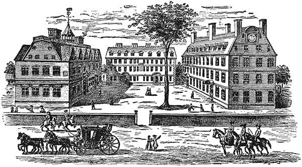 Historic drawing of Harvard