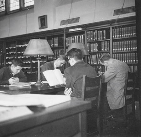Historic photo of students in study room in AHTL