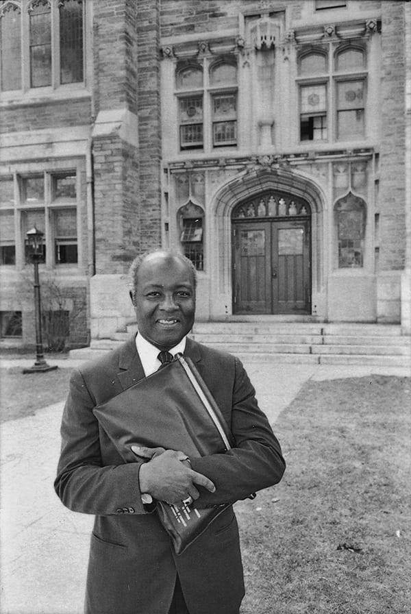Photo of Preston Williams standing outside Andover Hall