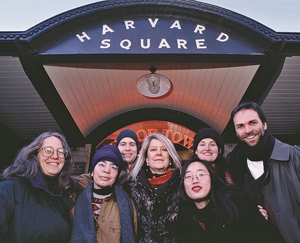 Diana Eck and students in Harvard Square