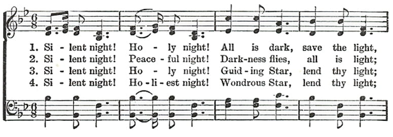 First line of music for the hymn Silent Night