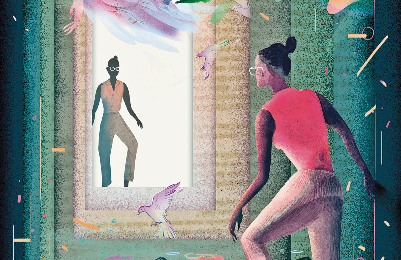 Illustration of two women stepping towards each other through a series of openings, with the woman in the foreground in a jungle-like environment