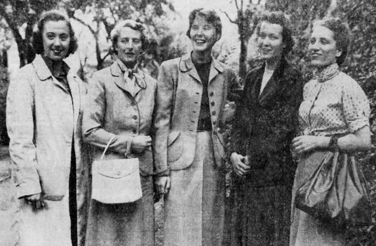 Group of five women standing together on the HDS campus
