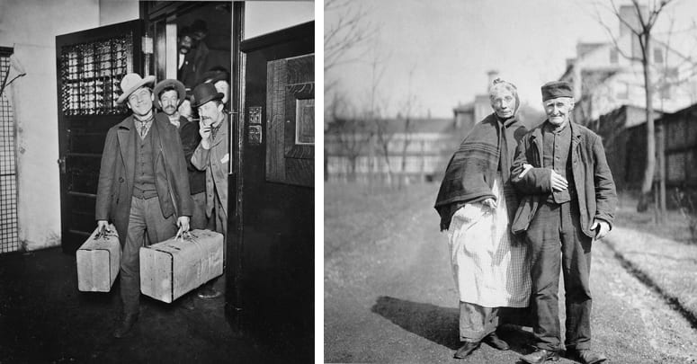 Pair of archival photographs, one showing a smiling immigrant and the other an elderly couple