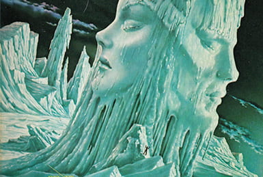 Illustration of icy landscape with small figure approaching an ice tower that's left side is a female face in profile and right side is a male face