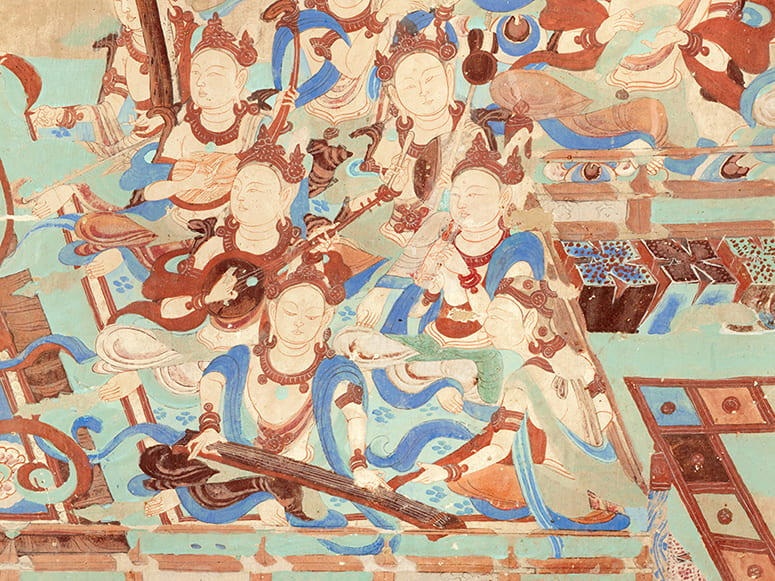 Painting of musicians playing string instruments