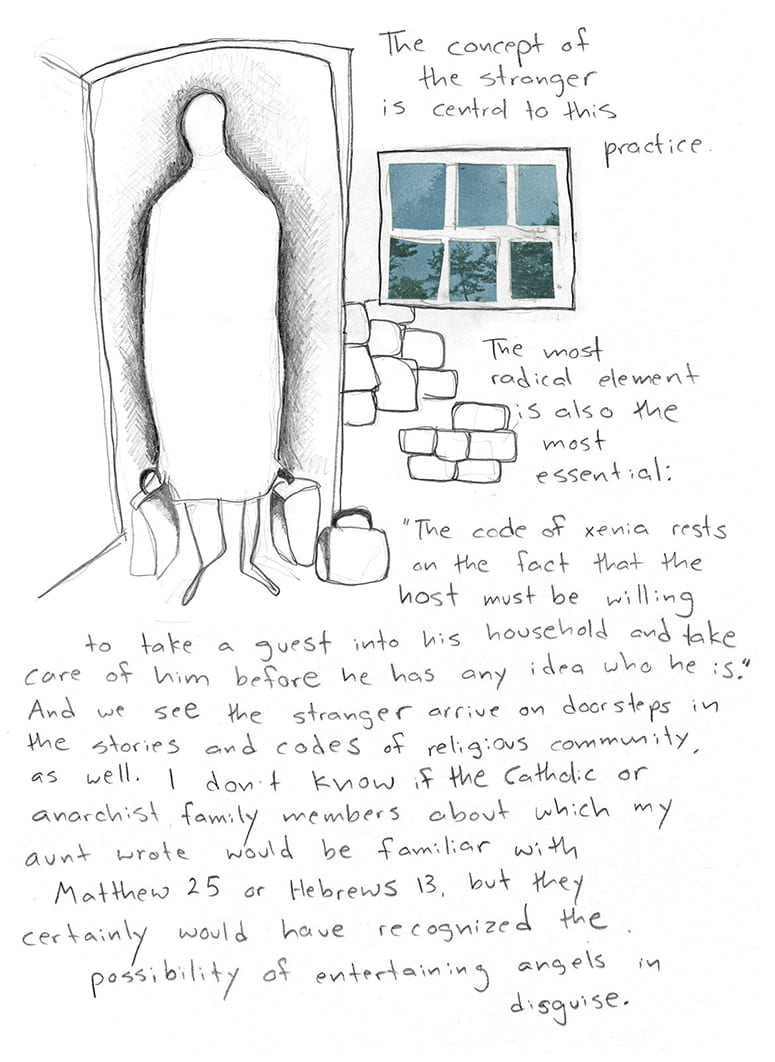 """Drawing of figure with suitcases showing up at the door, with handwritten text: The concept of the stranger is central to this practice. The most radical element is also the most essential: """"The code of xenia rests on the fact that the host must be willing to take a guest into his household and take care of him before he has any idea who he is."""" And we see the stranger arrive on doorsteps in the stories and codes of religious community as well. I don't know if the Catholic or anarchist family members about which my aunt wrote would be familiar with Matthew 25 or Hebrews 13, but they certainly would have recognized the possibility of entertaining angels in disguise."""