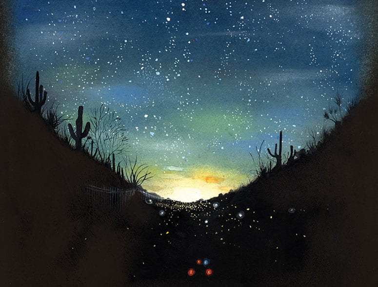 illustration of the desert at dawn with a trail of lights leading into the distance
