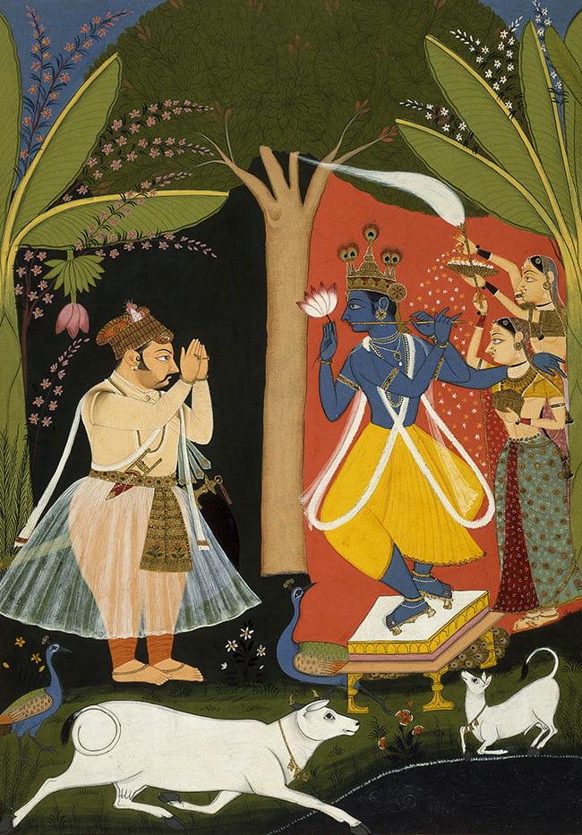 Painting of a Rajput king worshiping Krishna