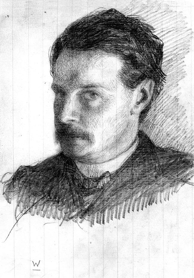 Pencil drawn self portrait of William James