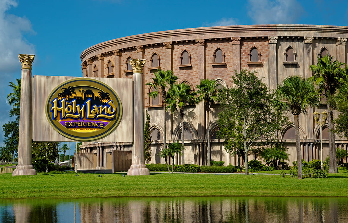 Entrance sign for Holy Land Experience theme park