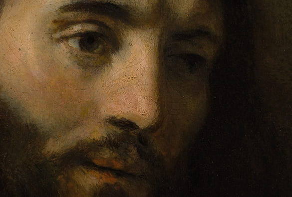 Detail from an early renaissance portrait painting of a man representing Jesus
