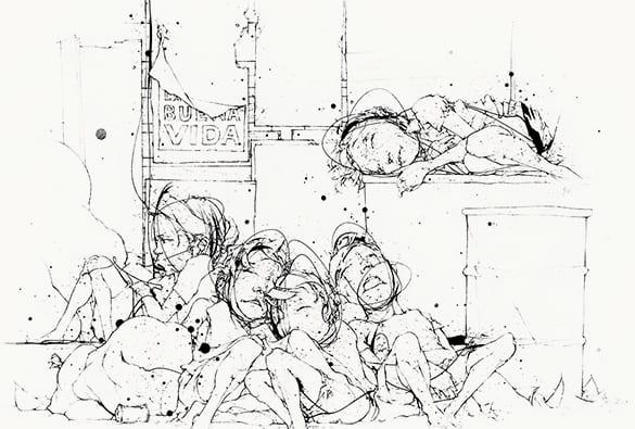Illustration of street kids sleeping together without shelter