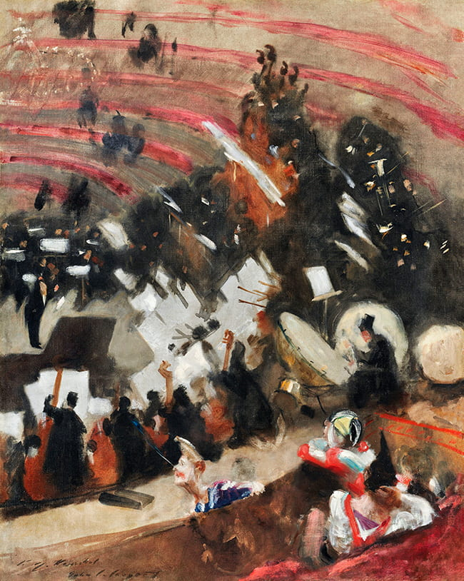 Abstract painting of musicians in an orchestra