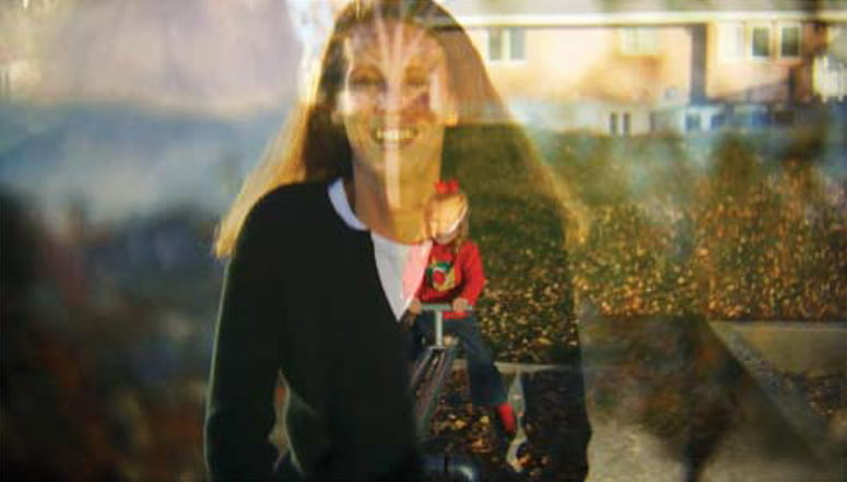 Film still with overlapping images of a smiling woman and a young girl on a swing