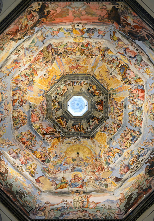 Interior of cathedral dome with a very detailed fresco