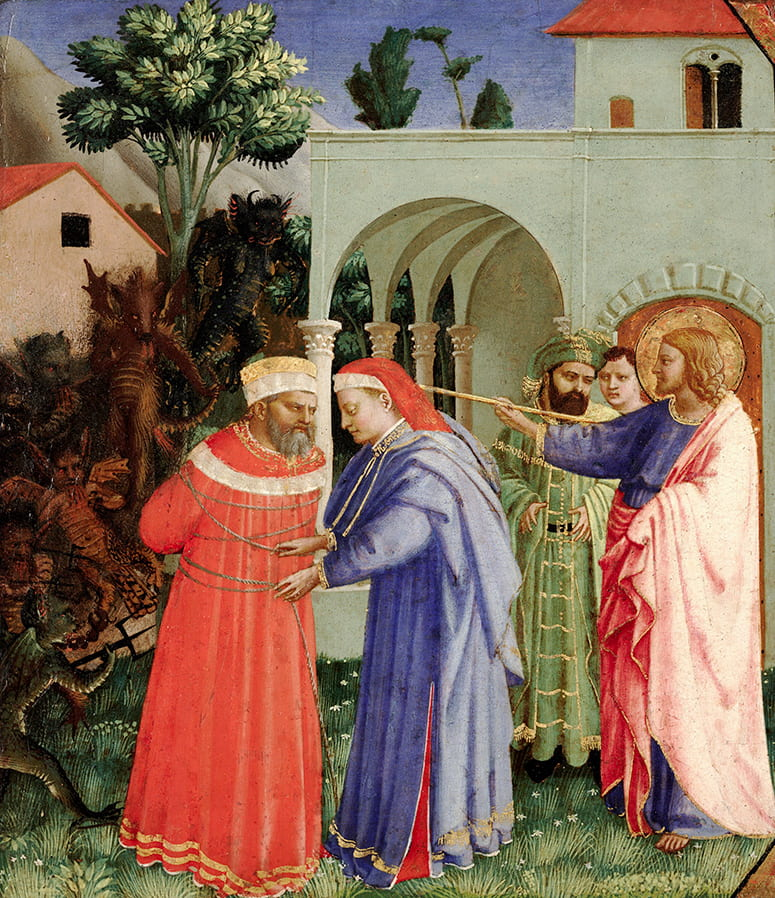 Painting of robed figures, one untying the ropes around the other