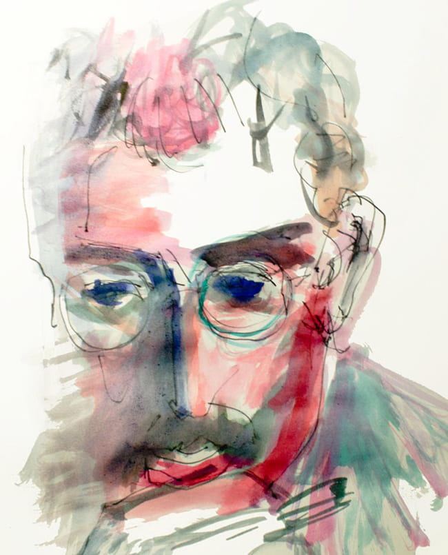 Watercolor portrait of Walter Benjamin