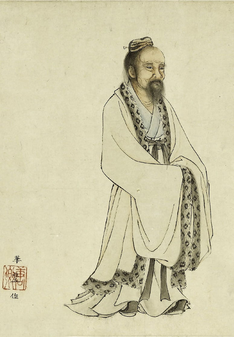 Ink drawing of an old Chinese man