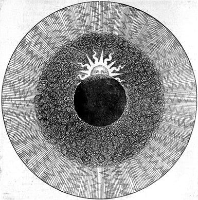 engraving of concentric circles, the innermost one is dark with a sun rising behind it