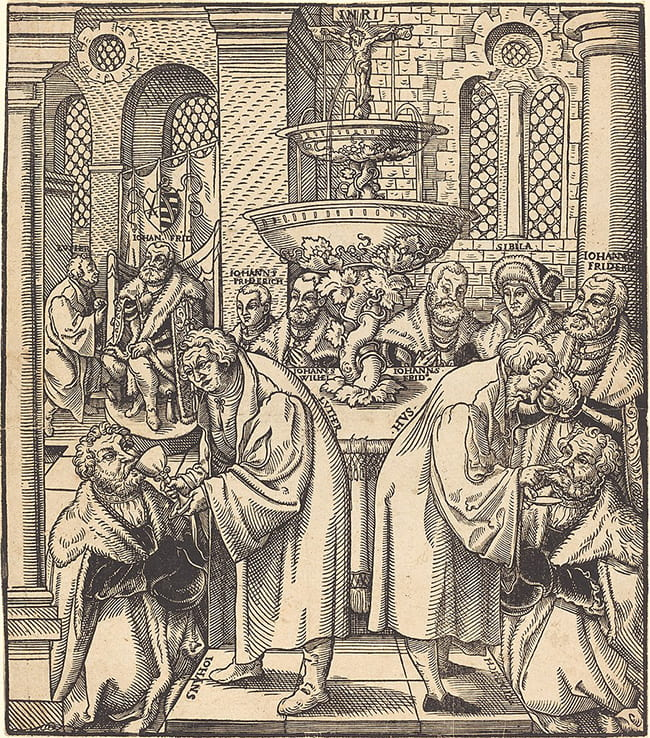 Woodcut of Communion ritual