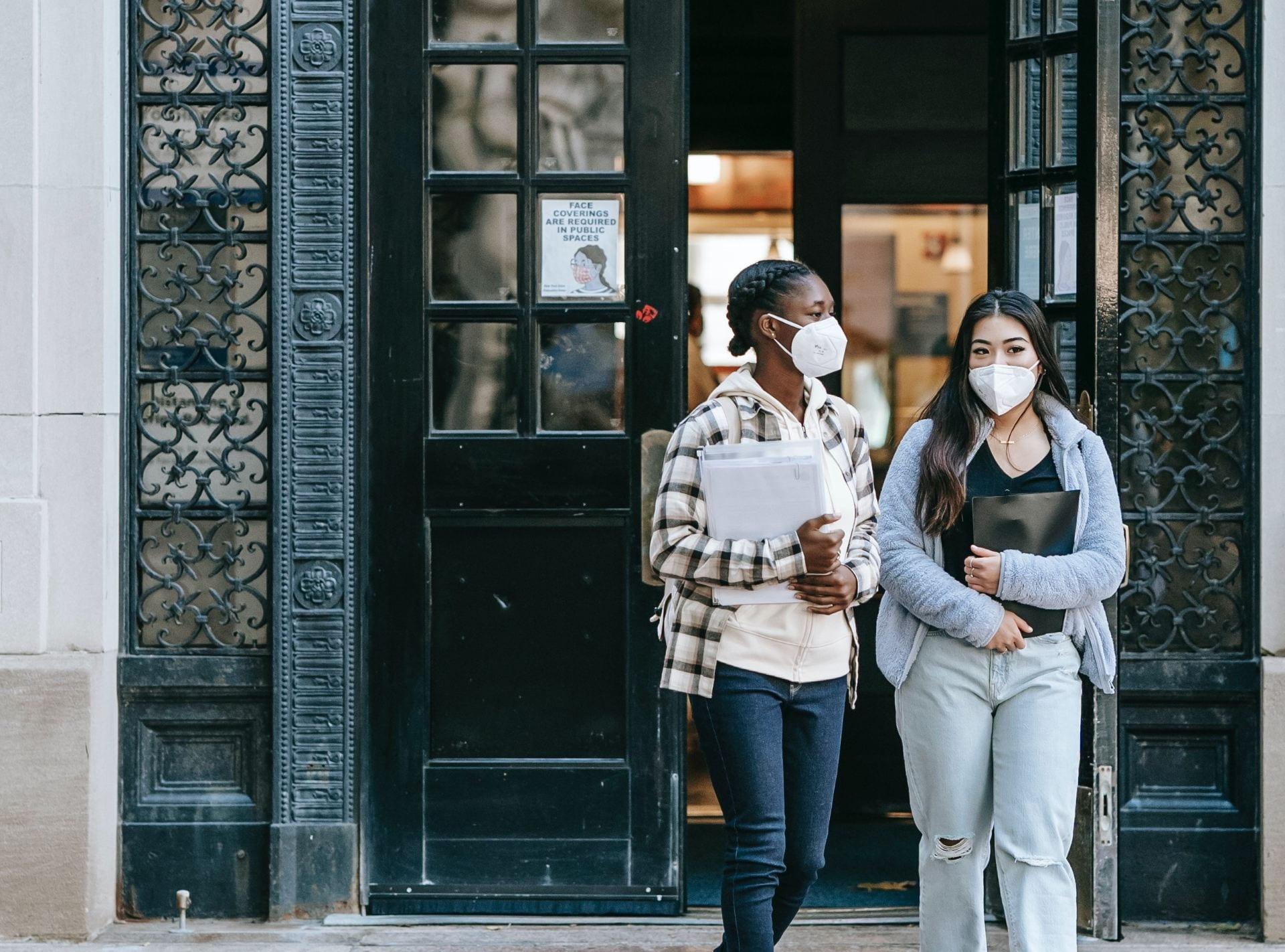 photo of masked students