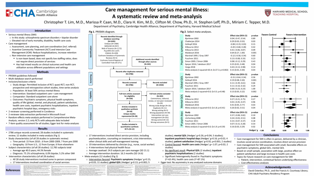 Care management for serious mental illness: A systematic review and meta-analysis