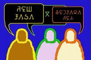 figure con fumetti in lingue diverse
