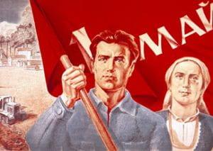 manifesto con uomo e donna davanti a bandiera rossa