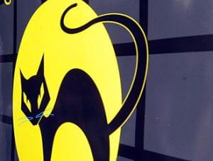 Vignetta di gatto nero stilizzato