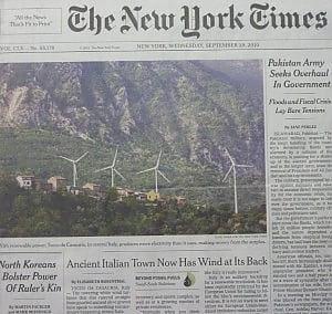 Prima pagina del New You Times dedicato all'elolico in Abruzzo