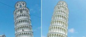 La torre di Pisa prima e dopo la pulizia