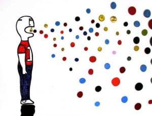 Vignetta di uomo che produce bolle colorate dalla bocca