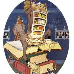 Vignetta comica di uomo sepolto da libri su una scrivania