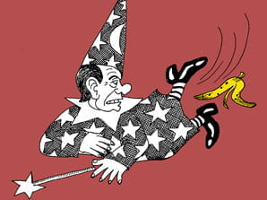 Caricatura umoristica di clown che cade su buccia di banana