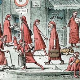 Vignetta rappresentante molti Dante Alighieri in differenti mansioni giornaliere