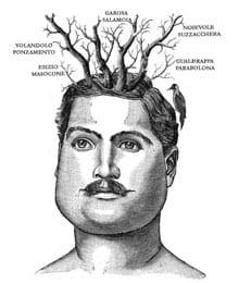 Disegno di volto di uomo con pianete e animali sul capo